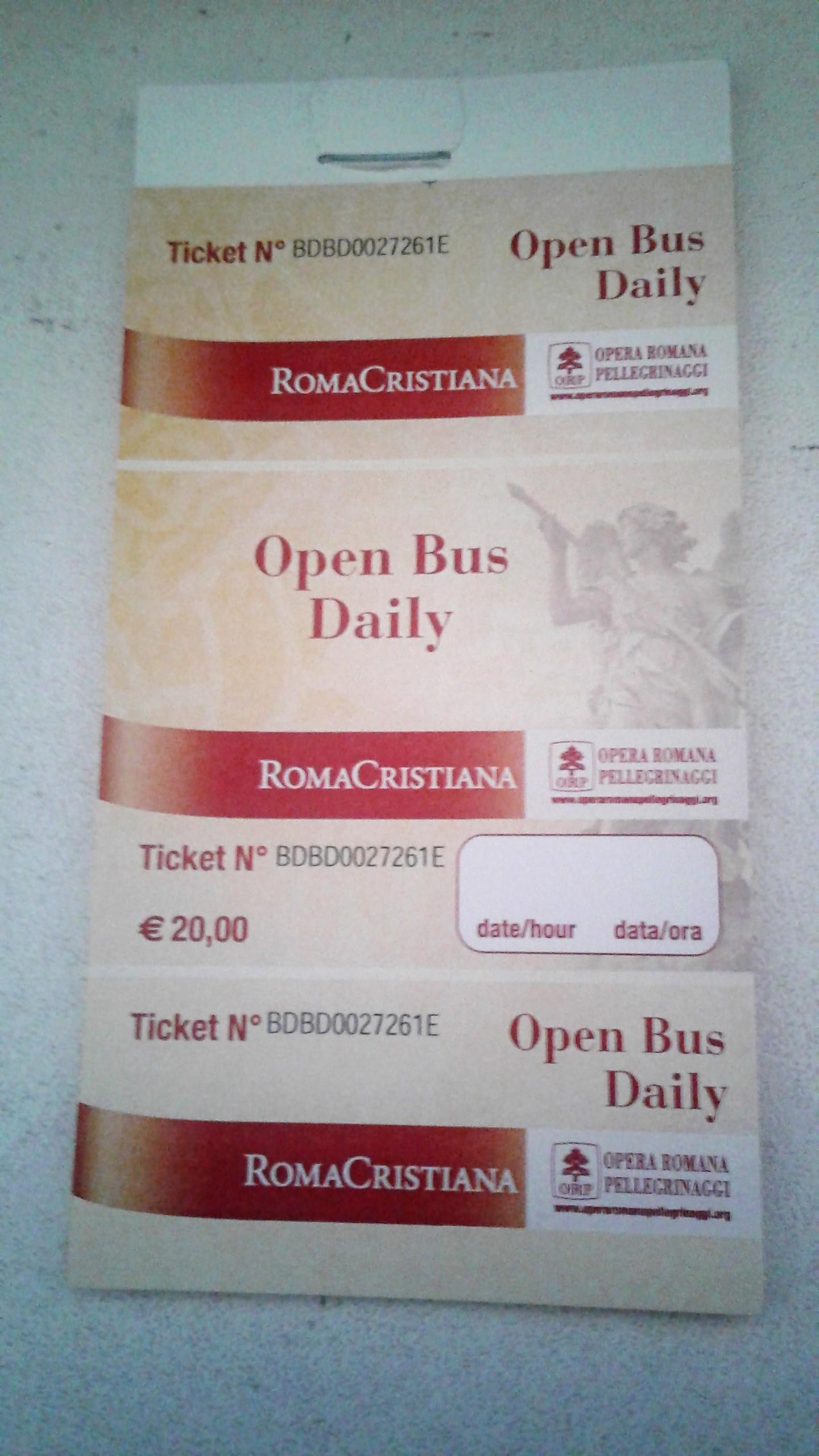 Biglietti Open Bus Opera Romana Pellegrinaggi