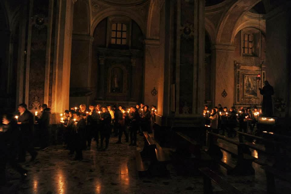 Candlemas procession in a church in Rome